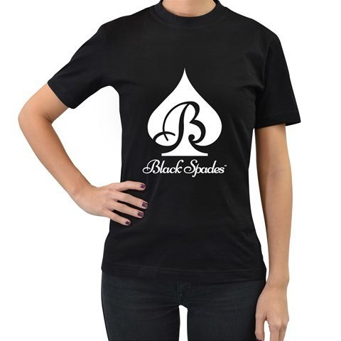 Black Spades Logo Tee (White or Metallic Gold) - Women