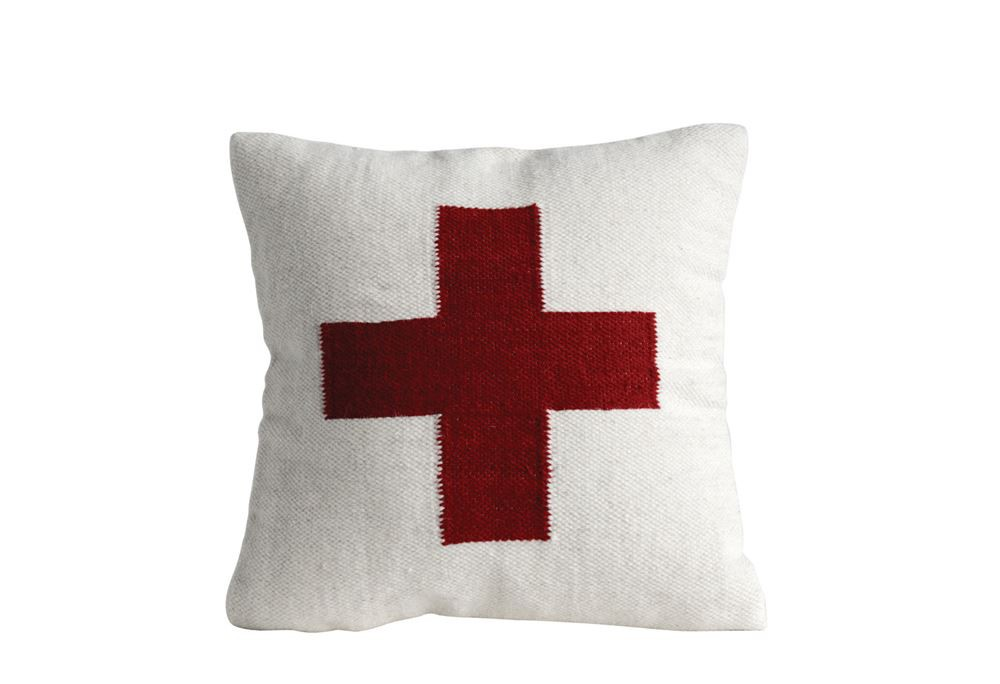 Swiss Army Cross Pillow, Red & White