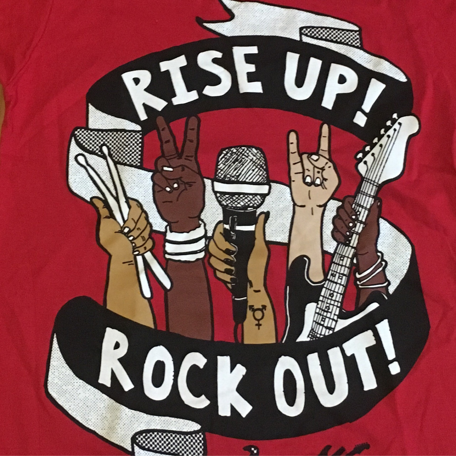 T-Shirt Rise Up Rock Out Red