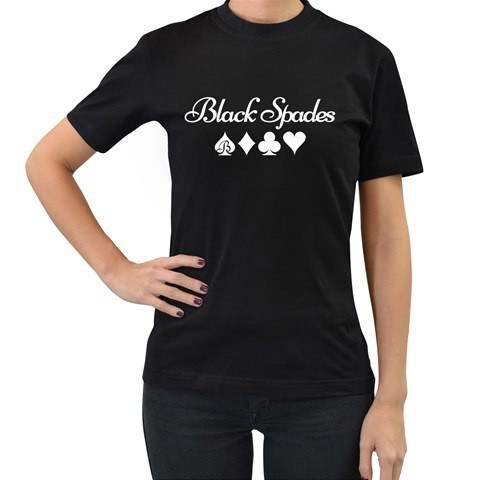 Black Spades Suits Tee (White or Metallic Gold) - Women