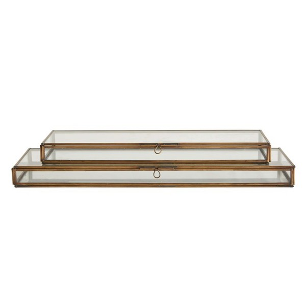 Brass & Glass Flat Rectangle Box
