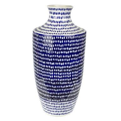 Blue & White Dotted Vase